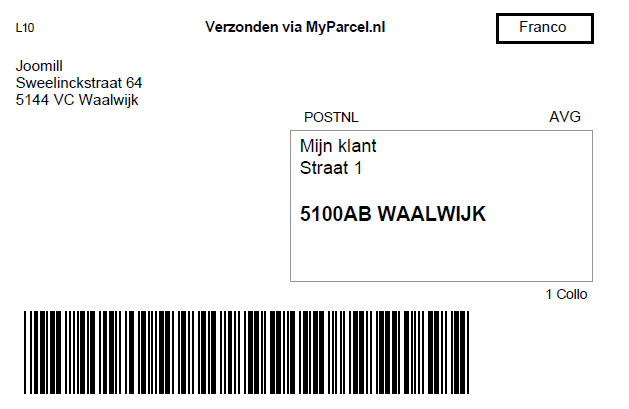 myparcel label
